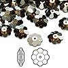 Bead, Swarovski crystal, Crystal Passions®, crystal bronze shade, foil back, 10x3.5mm faceted marguerite lochrose flower (3700). Sold per pkg of 144 (1 gross).
