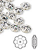 Bead, Swarovski crystal, Crystal Passions®, crystal clear, foil back, 10x3.5mm faceted marguerite lochrose flower (3700). Sold per pkg of 12.