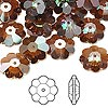 Bead, Swarovski crystal, Crystal Passions®, crystal copper, 12x4mm faceted marguerite lochrose flower (3700). Sold per pkg of 144 (1 gross).