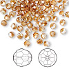 Bead, Swarovski crystal, Crystal Passions®, crystal copper, 4mm faceted round (5000). Sold per pkg of 144 (1 gross).