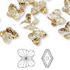 Bead, Swarovski crystal, Crystal Passions®, crystal golden shadow, 10x9mm faceted butterfly (5754). Sold per pkg of 12.