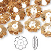 Bead, Swarovski crystal, Crystal Passions®, crystal golden shadow, 14x5mm faceted marguerite lochrose flower (3700). Sold per pkg of 12.