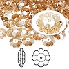 Bead, Swarovski crystal, Crystal Passions®, crystal golden shadow, 8x3mm faceted marguerite lochrose flower (3700). Sold per pkg of 12.