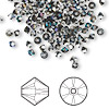 Bead, Swarovski crystal, Crystal Passions®, crystal heliotrope, 3mm Xilion bicone (5328). Sold per pkg of 144 (1 gross).