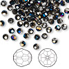 Bead, Swarovski crystal, Crystal Passions®, crystal metallic blue, 4mm faceted round (5000). Sold per pkg of 144 (1 gross).