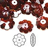 Bead, Swarovski crystal, Crystal Passions®, crystal red magma, 14x5mm faceted marguerite lochrose flower (3700). Sold per pkg of 12.