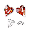 Bead, Swarovski crystal, Crystal Passions®, crystal red magma, 17x13mm diagonally drilled right- and left-facing faceted wild heart (5743). Sold per pkg of 12.