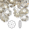 Bead, Swarovski crystal, Crystal Passions®, crystal silver shade, 12x4mm faceted marguerite lochrose flower (3700). Sold per pkg of 144 (1 gross).