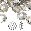 Bead, Swarovski crystal, Crystal Passions®, crystal silver shade, 14x5mm faceted marguerite lochrose flower (3700). Sold per pkg of 12.