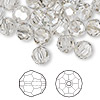 Bead, Swarovski crystal, Crystal Passions®, crystal silver shade, 8mm faceted round (5000). Sold per pkg of 144 (1 gross).