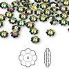 Bead, Swarovski crystal, Crystal Passions®, crystal vitrail medium, 6x2mm faceted marguerite lochrose flower (3700). Sold per pkg of 144 (1 gross).