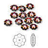 Bead, Swarovski crystal, Crystal Passions®, crystal volcano, foil back, 8x3mm faceted marguerite lochrose flower (3700). Sold per pkg of 12.