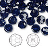 Bead, Swarovski crystal, Crystal Passions®, dark indigo, 8mm faceted round (5000). Sold per pkg of 144 (1 gross).