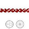 Bead, Swarovski crystal, Crystal Passions®, dark red coral, 6mm faceted round (5000). Sold per pkg of 12.