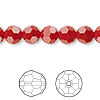 Bead, Swarovski crystal, Crystal Passions®, dark red coral, 8mm faceted round (5000). Sold per pkg of 12.