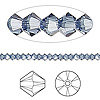 Bead, Swarovski crystal, Crystal Passions®, denim blue, 3mm Xilion bicone (5328). Sold per pkg of 48.