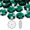 Bead, Swarovski crystal, Crystal Passions®, emerald, 12x4mm faceted marguerite lochrose flower (3700). Sold per pkg of 12.