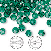 Bead, Swarovski crystal, Crystal Passions®, emerald, 6mm faceted round (5000). Sold per pkg of 144 (1 gross).