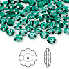 Bead, Swarovski crystal, Crystal Passions®, emerald, 6x2mm faceted marguerite lochrose flower (3700). Sold per pkg of 144 (1 gross).