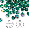 Bead, Swarovski crystal, Crystal Passions®, emerald AB, 6mm faceted round (5000). Sold per pkg of 144 (1 gross).