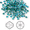 Bead, Swarovski crystal, Crystal Passions®, emerald AB2X, 3mm Xilion bicone (5328). Sold per pkg of 144 (1 gross).