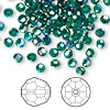 Bead, Swarovski crystal, Crystal Passions®, emerald AB2X, 4mm faceted round (5000). Sold per pkg of 144 (1 gross).