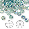 Bead, Swarovski crystal, Crystal Passions®, erinite AB, 6mm faceted round (5000). Sold per pkg of 144 (1 gross).