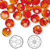 Bead, Swarovski crystal, Crystal Passions®, fireopal, 8mm faceted round (5000). Sold per pkg of 144 (1 gross).