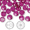 Bead, Swarovski crystal, Crystal Passions®, fuchsia, 8mm faceted round (5000). Sold per pkg of 144 (1 gross).