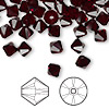 Bead, Swarovski crystal, Crystal Passions®, garnet, 6mm Xilion bicone (5328). Sold per pkg of 144 (1 gross).