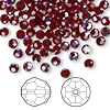 Bead, Swarovski crystal, Crystal Passions®, garnet AB, 4mm faceted round (5000). Sold per pkg of 144 (1 gross).