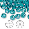 Bead, Swarovski crystal, Crystal Passions®, indicolite, 8mm faceted round (5000). Sold per pkg of 144 (1 gross).