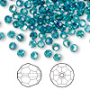 Bead, Swarovski crystal, Crystal Passions®, indicolite AB, 4mm faceted round (5000). Sold per pkg of 144 (1 gross).