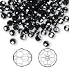 Bead, Swarovski crystal, Crystal Passions®, jet hematite 2X, 4mm faceted round (5000). Sold per pkg of 144 (1 gross).