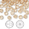 Bead, Swarovski crystal, Crystal Passions®, light Colorado topaz, 6mm faceted round (5000). Sold per pkg of 144 (1 gross).