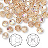 Bead, Swarovski crystal, Crystal Passions®, light Colorado topaz AB, 6mm faceted round (5000). Sold per pkg of 144 (1 gross).