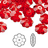 Bead, Swarovski crystal, Crystal Passions®, light Siam, 12x4mm faceted marguerite lochrose flower (3700). Sold per pkg of 144 (1 gross).