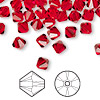 Bead, Swarovski crystal, Crystal Passions®, light Siam, 6mm Xilion bicone (5328). Sold per pkg of 144 (1 gross).