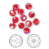 Bead, Swarovski crystal, Crystal Passions®, light Siam AB, 6mm faceted round (5000). Sold per pkg of 12.