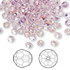 Bead, Swarovski crystal, Crystal Passions®, light amethyst AB, 4mm faceted round (5000). Sold per pkg of 144 (1 gross).