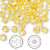 Bead, Swarovski crystal, Crystal Passions®, light topaz, 6mm faceted round (5000). Sold per pkg of 144 (1 gross).