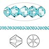 Bead, Swarovski crystal, Crystal Passions®, light turquoise, 3mm Xilion bicone (5328). Sold per pkg of 48.