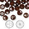 Bead, Swarovski crystal, Crystal Passions®, mocca, 8mm faceted round (5000). Sold per pkg of 144 (1 gross).
