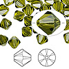 Bead, Swarovski crystal, Crystal Passions®, olivine, 8mm Xilion bicone (5328). Sold per pkg of 72.