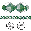 Bead, Swarovski crystal, Crystal Passions®, palace green opal, 5mm faceted bicone (5301). Sold per pkg of 144 (1 gross).