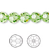Bead, Swarovski crystal, Crystal Passions®, peridot, 10mm faceted round (5000). Sold per pkg of 24.