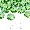 Bead, Swarovski crystal, Crystal Passions®, peridot, 12x4mm faceted marguerite lochrose flower (3700). Sold per pkg of 144 (1 gross).