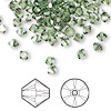 Bead, Swarovski crystal, Crystal Passions®, peridot satin, 4mm Xilion bicone (5328). Sold per pkg of 144 (1 gross).