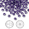 Bead, Swarovski crystal, Crystal Passions®, purple velvet, 4mm faceted round (5000). Sold per pkg of 144 (1 gross).