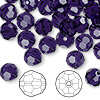 Bead, Swarovski crystal, Crystal Passions®, purple velvet, 8mm faceted round (5000). Sold per pkg of 144 (1 gross).